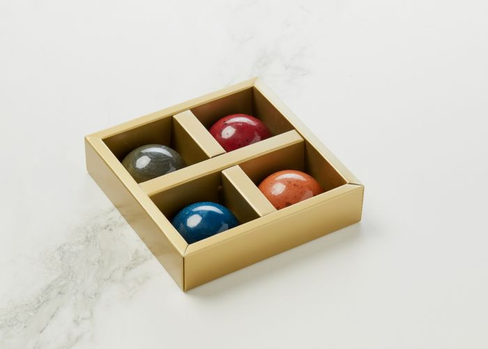 Lakridsflødebolle, Vaniljeflødebolle, Jordbærflødebolle og Karamelflødebolle Mark Hermann Chocolate