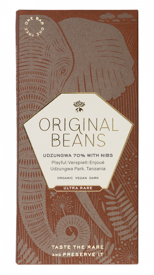 Cru Udzungwa 70% with nibs (EU organic) 70g